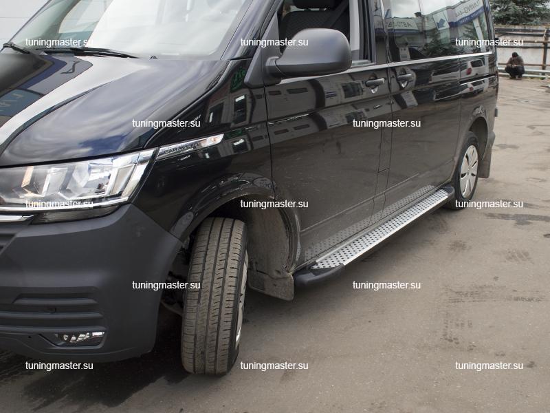 Пороги алюминиевые Volkswagen Transporter T6 (Sapphire Silver)